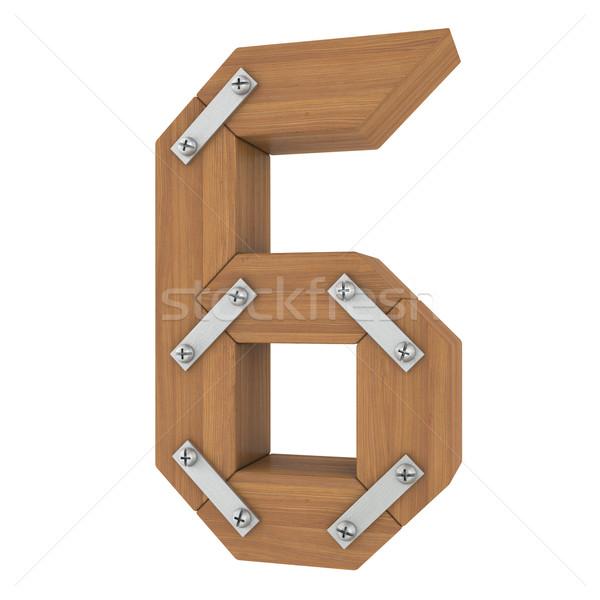 Houten aantal zes geïsoleerd geven witte Stockfoto © cherezoff