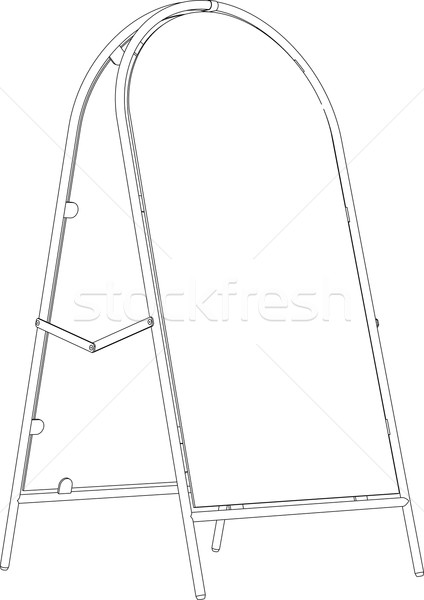 Drawing of wire-frame sidewalk sign. Perspective view. Vector illustration Stock photo © cherezoff