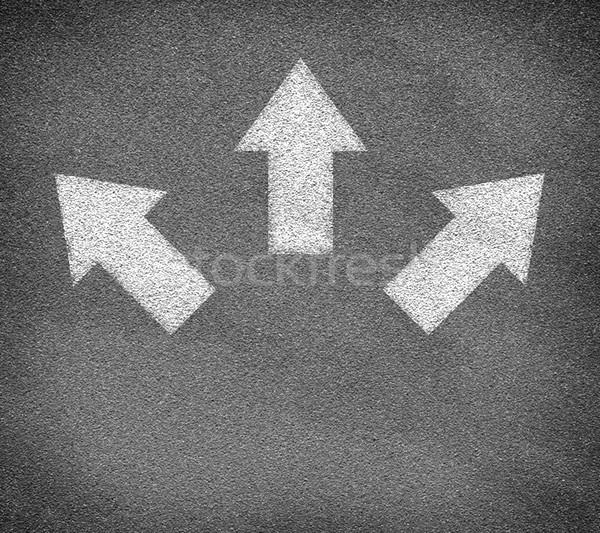 Aszfalt textúra három fehér nyilak út Stock fotó © cherezoff