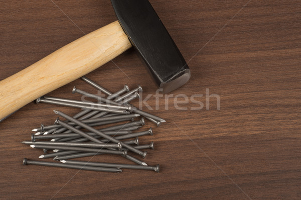Hammer with big pile of nails  Stock photo © cherezoff