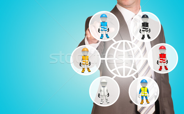 üzletember kisajtolás holografikus képernyő báb emberek Stock fotó © cherezoff