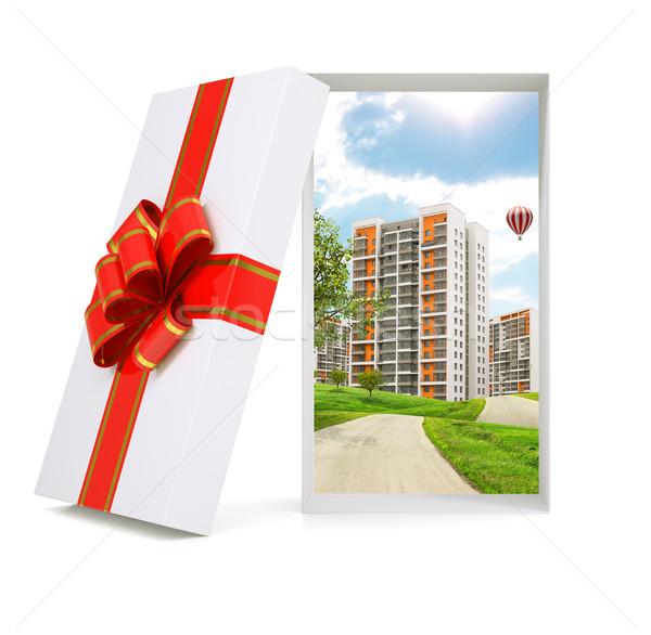 Cityscape in gift box Stock photo © cherezoff