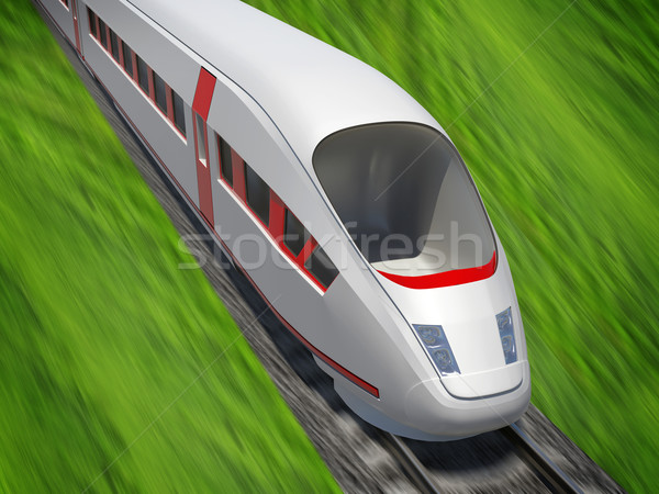 Modern train moving forward on rail-tracks Stock photo © cherezoff