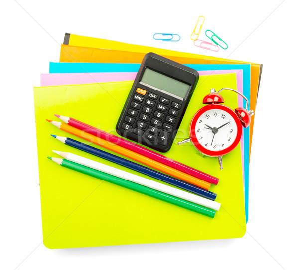 Pastelli sveglia isolato bianco matita notebook Foto d'archivio © cherezoff