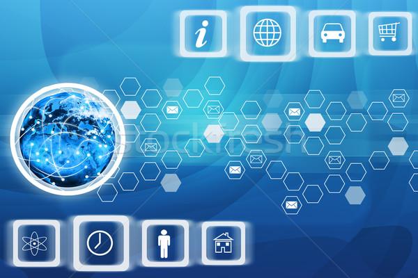 ícones do computador terra globo abstrato azul computador Foto stock © cherezoff