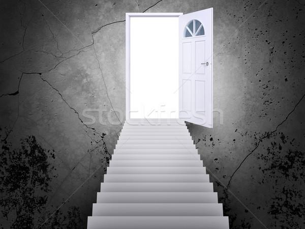 Lépcsőfeljáró vezető ajtó nyitott ajtó fény lépcsősor Stock fotó © cherezoff