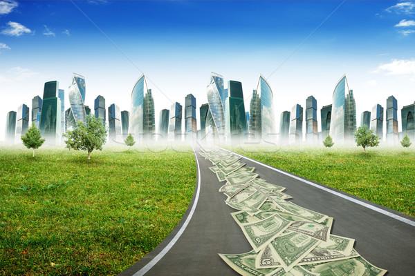 Snelweg weg stad cash blauwe hemel business Stockfoto © cherezoff