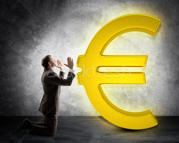 Geschäftsmann Euro Zeichen grau Wand Bank Stock foto © cherezoff