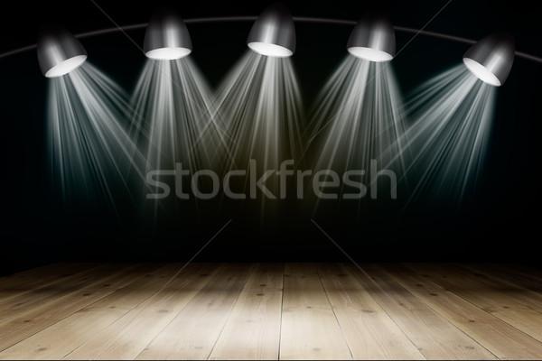 Illuminated empty concert stage with rays of light Stock photo © cherezoff