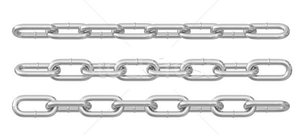 Coleção metal cadeias prata isolado Foto stock © cherezoff