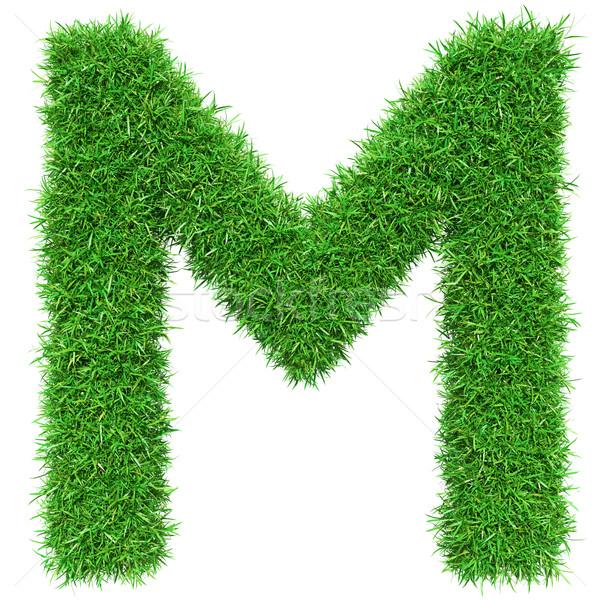 Yeşil ot mektup m yalıtılmış beyaz dizayn Stok fotoğraf © cherezoff