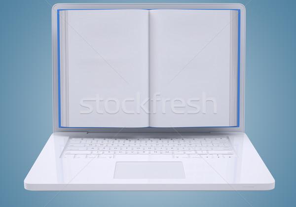 Blank book to screen laptop Stock photo © cherezoff