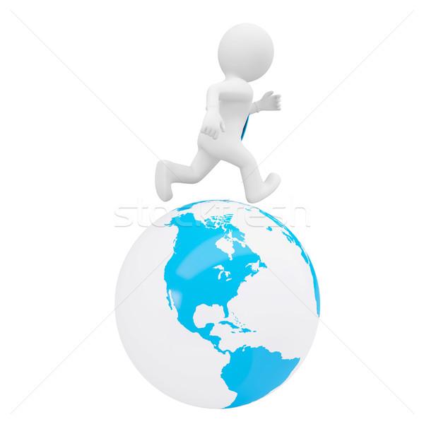 3d man running on the planet Stock photo © cherezoff