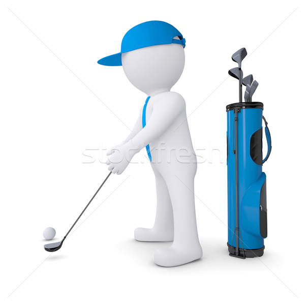 3d white man playing golf Stock photo © cherezoff