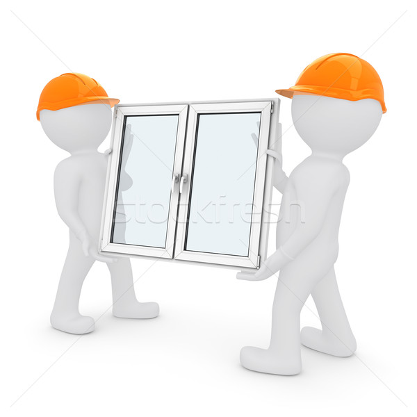 Two workers in orange hard hats have plastic window Stock photo © cherezoff