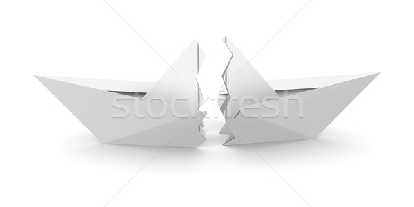 Paper Boat is broken into two parts Stock photo © cherezoff
