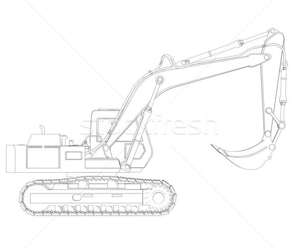Excavator. Wire frame Stock photo © cherezoff
