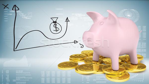 Piggy Bank Золотые монеты графа цен фон Сток-фото © cherezoff