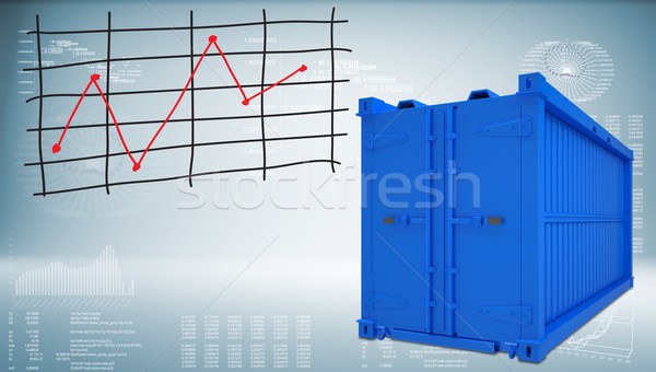 Shipping container with graph of price changes Stock photo © cherezoff