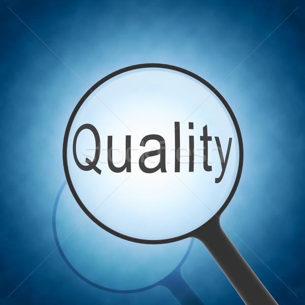 Stock fotó: Nagyító · néz · szó · minőség · kék · üzlet