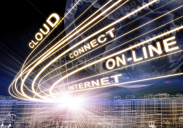 Earth, wire-frame buildings, light beams, digits and words like internet, online, etc. on dark backg Stock photo © cherezoff