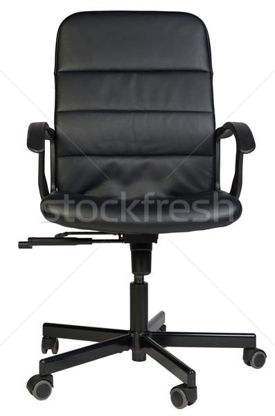 черный кожа офисные кресла изолированный белый Сток-фото © cherezoff