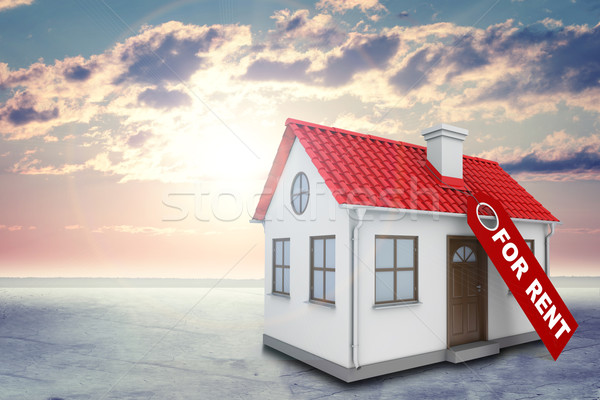 White house with label for rent, red roof and chimney. Background sun shines brightly, clouds Stock photo © cherezoff