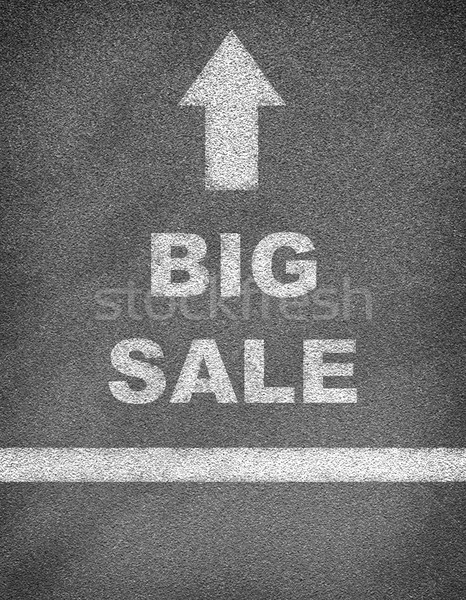 Stock photo: Asphalt road texture with arrow, line and text BIG SALE