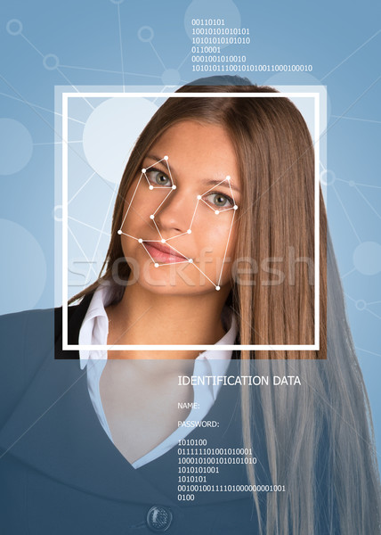 Concept of person identification. Beautiful girl. Face with lines Stock photo © cherezoff