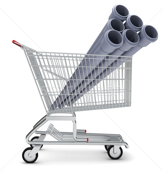Sewer pipe in shopping cart Stock photo © cherezoff