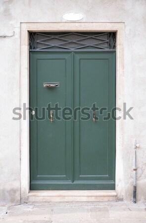 Wooden green door in wall Stock photo © cherezoff