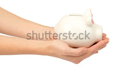 Pigggy bank in humans hands, side view Stock photo © cherezoff