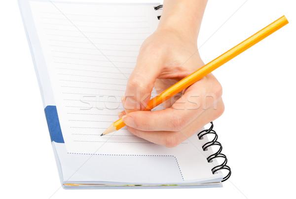 Closeup of woman's hand writing on paper Stock photo © cherezoff