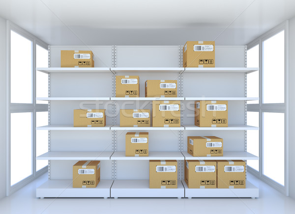 White room with steel shelves and cardboard boxes Stock photo © cherezoff