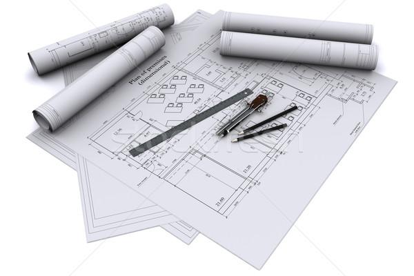 Сток-фото: компас · правителя · карандашом · архитектурный · строительство