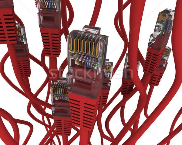 Gruppe rot Netzwerk Kabel weiß Computer Stock foto © cherezoff