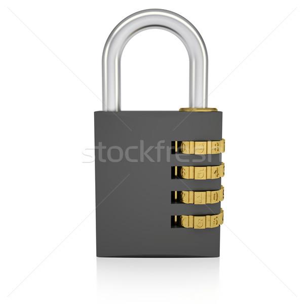 Metal şifreli kilit yalıtılmış vermek beyaz iş Stok fotoğraf © cherezoff