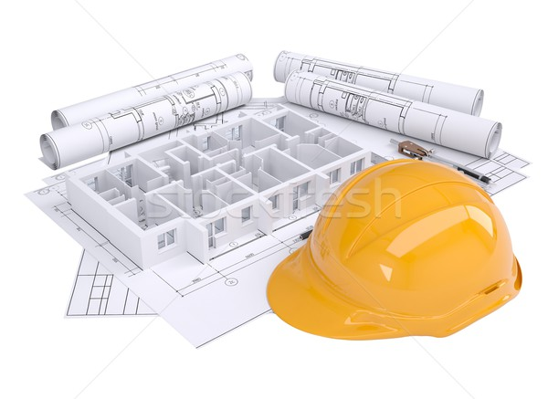 Wall of the house on the architectural drawings Stock photo © cherezoff