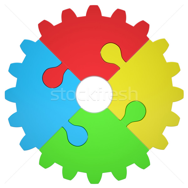 Gear consisting of puzzles Stock photo © cherezoff