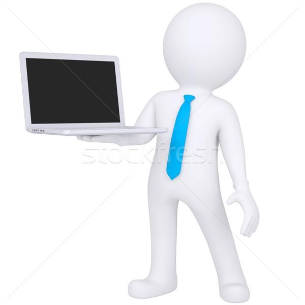 3D beyaz adam ayakta dizüstü bilgisayar yalıtılmış vermek Stok fotoğraf © cherezoff