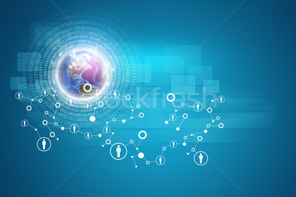 Globe with radiant figures and network of person icons on virtual interface Stock photo © cherezoff