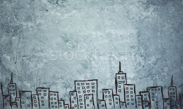 Concrete gray wall with fissure. Sketch of buildings Stock photo © cherezoff