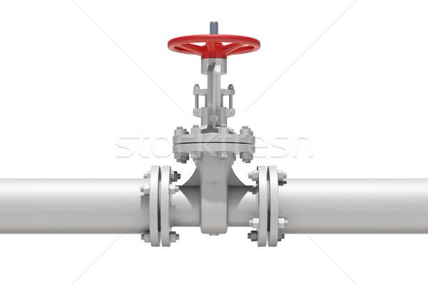 Blanche industrielle pipe isolé métal roue Photo stock © cherezoff