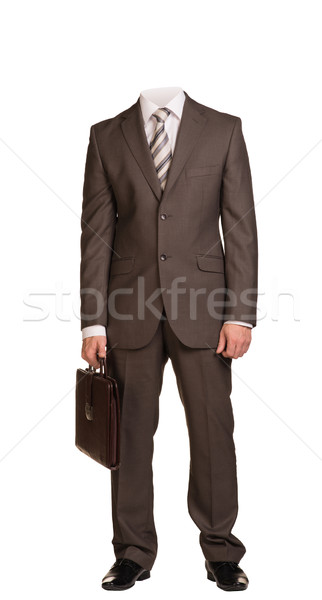 Işadamı takım elbise kafa ayakta bavul Stok fotoğraf © cherezoff