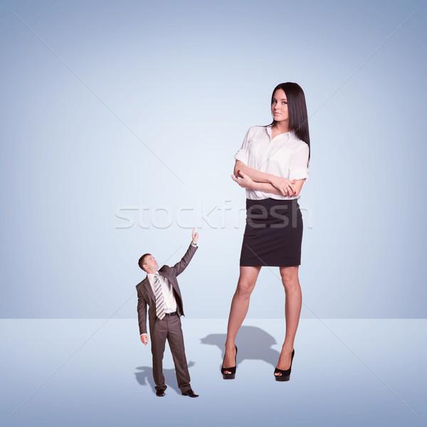 小さな 女性実業家 小 ビジネスマン 青 ビジネス ストックフォト © cherezoff