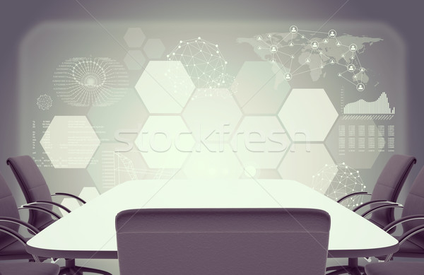 Colorless office with table and chairs in centre Stock photo © cherezoff