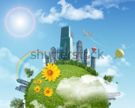 Városkép rovar szem kilátás zöld fű kék ég Stock fotó © cherezoff