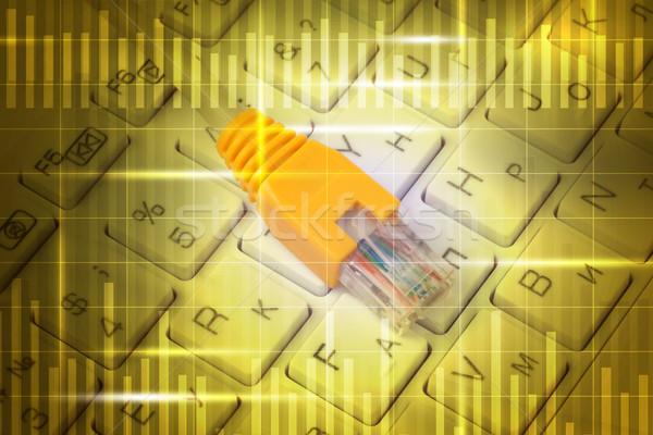 Kabel komputerowy klawiatury streszczenie żółty numery komputera Zdjęcia stock © cherezoff