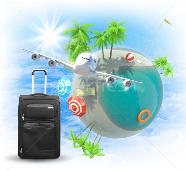 Jet and baggage near Earth Stock photo © cherezoff
