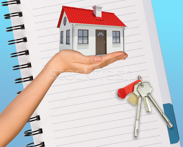 Humans hand holding house with open pad Stock photo © cherezoff